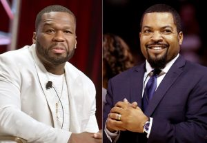 Photo altered to show Ice Cube, 50 Cent in 'Trump 2020' hats